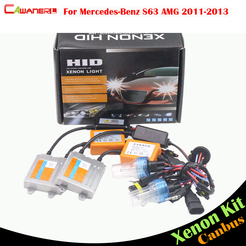 Cawanerl 55W Auto HID Xenon Kit AC 3000K-8000K Canbus Ballast Bulb Car Headlight High Beam For Mercedes-Benz S63 AMG 2011-2013