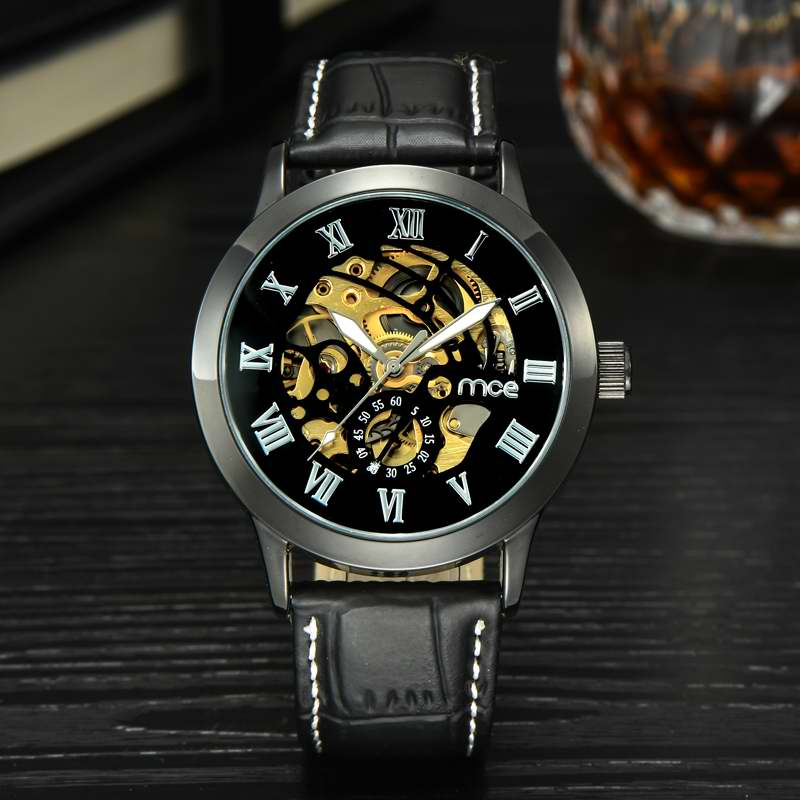 MCE Steampunk Women's Watch Skeleton Mechanical Hand-wind Fashion Casual Leather Strap Ladies Gifts Watches Roman Number Clock.