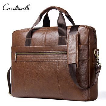 CONTACT'S Genuine Leather Male Messenger Bag For 15.6 Laptop Men's Crossbody Bags Large Business Shoulder Bag For Man Briefcase male genuine leather bag soft handbag top layer leather large capacity crossbody messenger bags for man men business briefcase