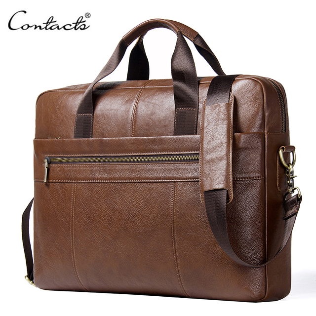 """CONTACT'S Genuine Leather Male Messenger Bag For 15.6"""" Laptop Men's Crossbody Bags Large Business Shoulder Bag For Man Briefcase"""