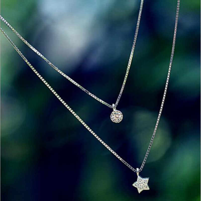 Noble Exquisite Fashion Wild 925 Sterling Silver Jewelry Wild Star Inlaid Double Clavicle Chain Beautiful Pendant Necklace  H80