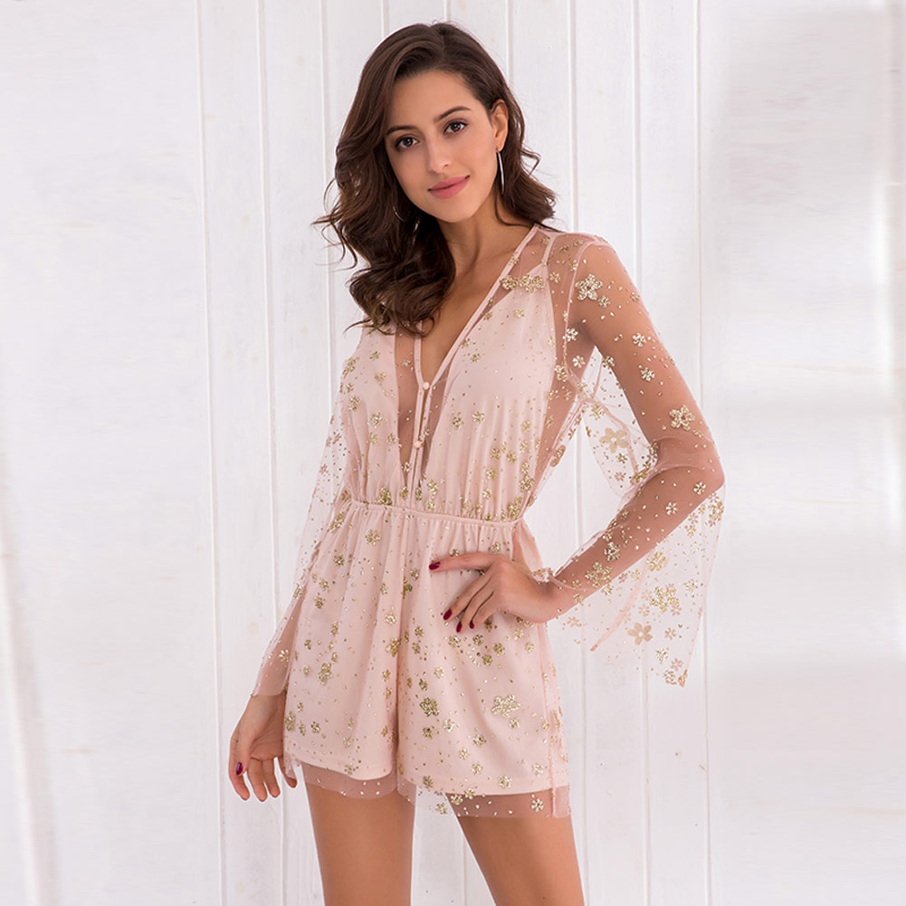 Summer Women Sexy Jumpsuit V Neck Spaghetti Strap Long Sleeve Mesh See Through Short Rompers H9