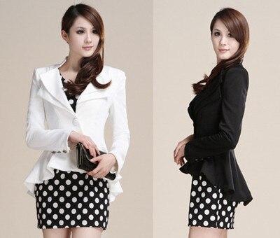 Fashion Women Suit Blazer Swallow Tail Coat Jacket Slim fit white Black S M L XL Top quality Free shipping