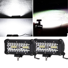 ECAHAYAKU 2x 7Inch 120W Combo Led Light Bars Flood Beam for led Work Driving lamp Offroad Boat Car Tractor Truck 4x4 SUV ATV 12V