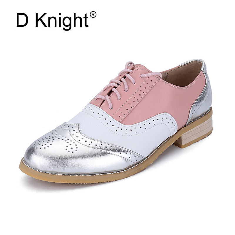 Handmade Women Genuine Full Grain Leather Oxfords Shoes Woman Big Size 32-43 Retro Flats Round Toe Brogue Oxford Shoes For Women qmn women crystal embellished natural suede brogue shoes women square toe platform oxfords shoes woman genuine leather flats