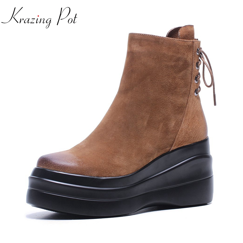 Krazing Pot cow suede mixed color runway lady superstar handsome wedges Autumn Winter lazy style leisure rivets ankle boots L61 krazing pot 2018 flannel solid peep toe slip on fashion runway lady superstar wedges autumn spring lazy style mid calf boots l33