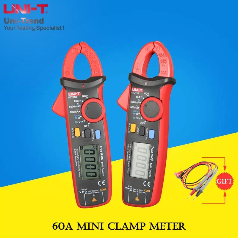UNI T UT211B 60A Mini Clamp Meter; vero RMS amperometro/VFC/NCV misura, LCD retroilluminato