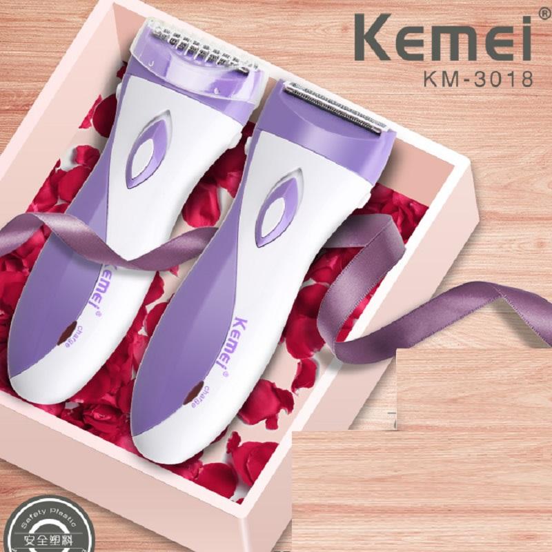 Kemei <font><b>Rechargeable</b></font> Lady Epilator Skin-friendly Women Electric Shaver <font><b>Hair</b></font> <font><b>Remover</b></font> Female Shaving Scraping Epilator KM-3018