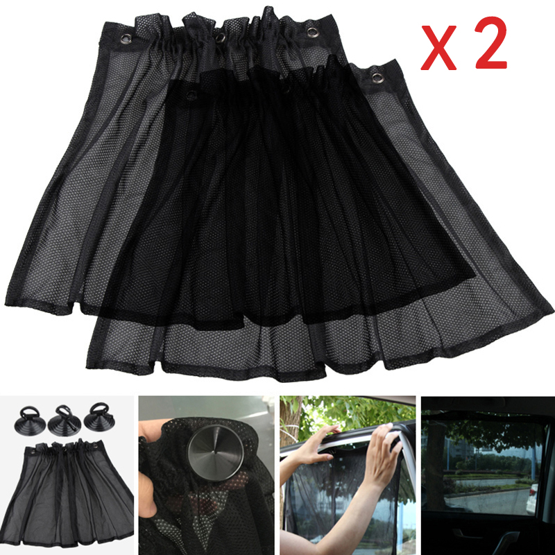 Auto Curtain Mesh Cloth Car Interior Side Window Sunshade Curtain UV Protection With Suction Cups Breathable