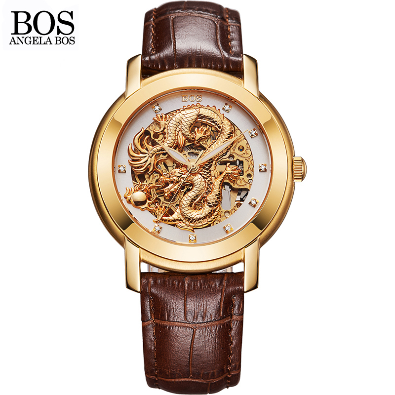 ANGELA BOS Famous Brand Chinese Dragon 3D Carving Gold Skeleton Mechanical Automatic Watch Men Luminous Leather Wrist Watches soft leather mens mechanical wrist watch dragon pattern laser engraving carving gold black business men male hand wind watches