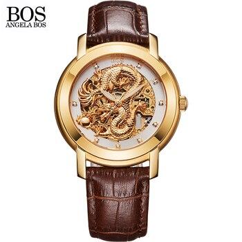 ba581eed782b Angela Bos famosa marca dragón chino 3D Tallados oro esqueleto mecánico automático  reloj hombres luminoso reloj de cuero Relojes