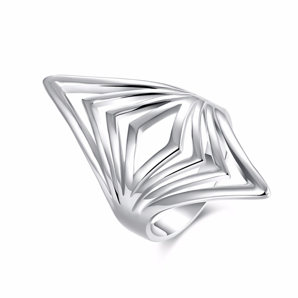 New hot silver jewelry minimalist line super modern wind silver ring rock science fiction personality with