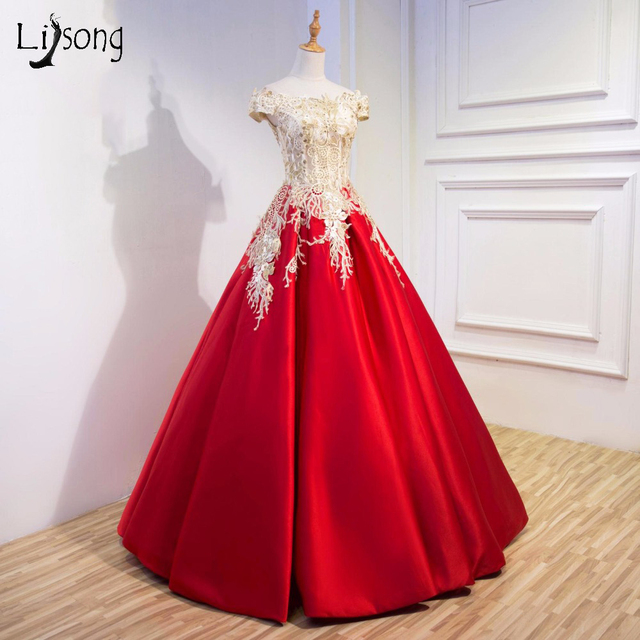 Red Gold Appliques Evening Formal Dress Ball Gowns Vestido De Noiva
