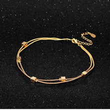 Everoyal Fashion Women Square Gold Anklets For Jewelry Top Quality 925 Sterling Silver Anklet Girls Festival Gift