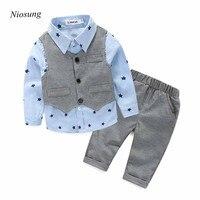 Niosung New 3pcs Newborn Baby Boy Grey Cotton Waistcoat Long Pants Shirts Clothes Long Sleeve Sets