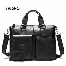 EVISPO Genuine Leather Men Bag Shoulder Vintage Leather Men's Black Zipper Briefcase Laptop Bag Men Messenger Bags Handbag Totes