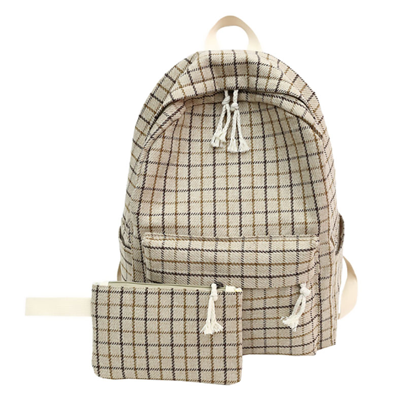 Image 5 - 2 Pieces Japan style Plaid Style Women Backpack Pencil Case Student Girl School Bag Travel Shoulder Bag For Women 2019 Bagpack-in Backpacks from Luggage & Bags