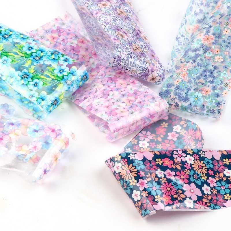ใหม่ 12 pcs 4*20 ซม. ฟอยล์ Transfer สติ๊กเกอร์สำหรับเล็บ Sliders ออกแบบเล็บ Decals ตกแต่งเล็บ 3d wraps ดอกไม้ชุด