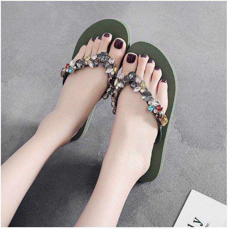 antiderrapante fundo macio casual flip flops strass decoração verão plana chinelo
