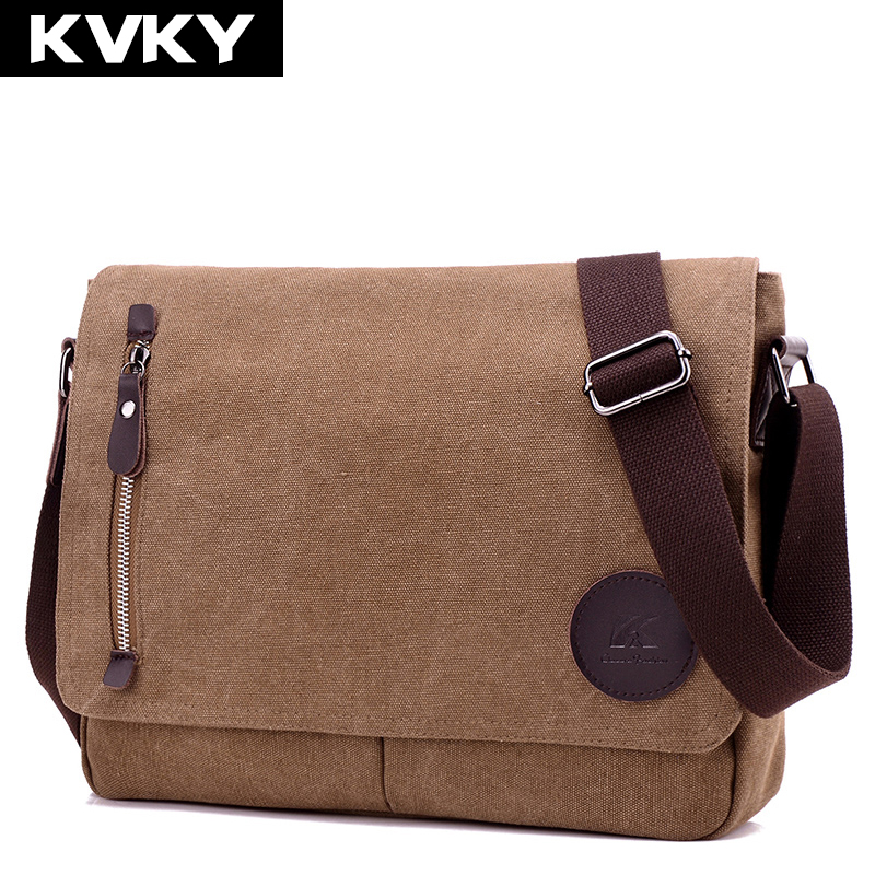 KVKY Vintage Canvas Men Messenger Bags High Quality Casual Multifunction Travel Bags Brand Design Man Shoulder Bag male Handbags