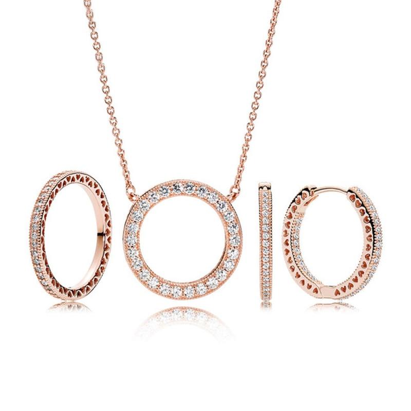 Mode charmes 925 en argent Sterling Original rond Rose collier anneaux costume pour femmes bijoux cadeau en gros usine