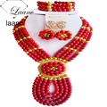 Brand Laanc 18inches Ethnic Jewelry Sets Tibetan Indian Nigerian African Beads Red Turquoise Necklace AL143