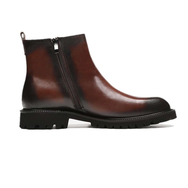 Masculinos brown De Dedo Homens Genuína marrom Ankle Boots Couro Do Preto Sapatos Motocicleta Pé Plataforma Botas Redondo Dos Da Moda Black Cq4BUwt