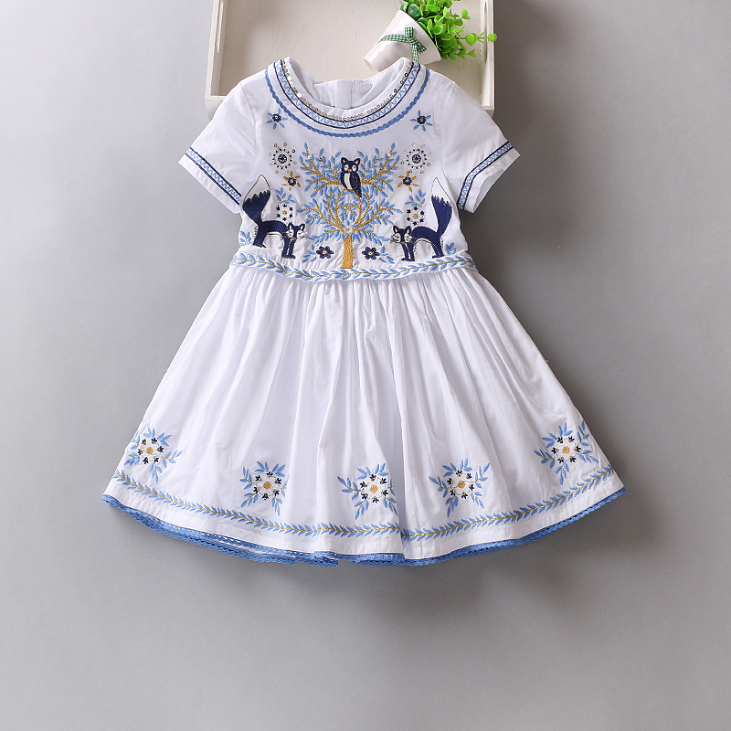 2018 Brand girl dress Infants party dresses for girls White girls prom dress 100% cotton baby girl summer clothes 2-10 year
