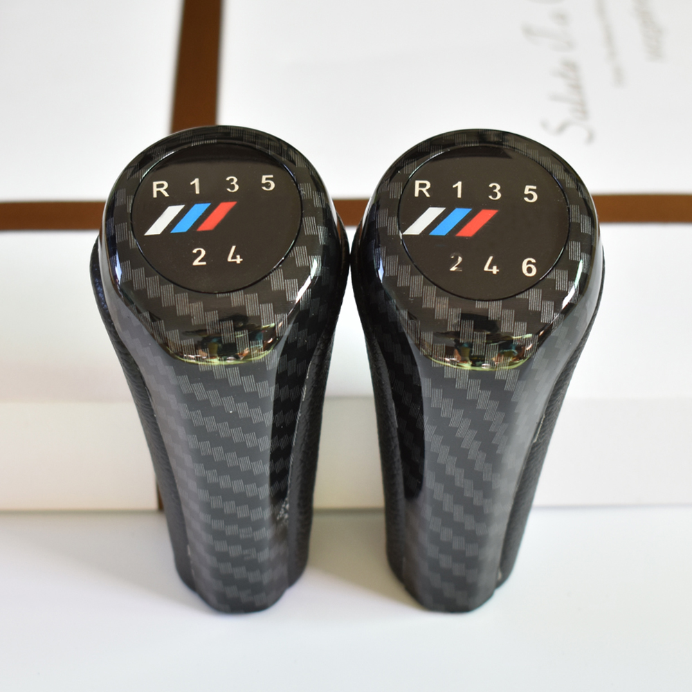 5 6 Speed Carbon Fiber Gear Shift Lever Knob With M Logo For BMW E90 E91 E92 F30 Z5 F20 M3 M4 M5 X5 X6 1 3 5 6 Series E30 E32