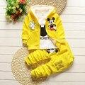 Conjunto de roupas de inverno 2016 das crianças Dos miúdos Dos Desenhos Animados de Mickey Mouse com capuz casaco + calças 3 peças terno snowsuit bebê conjunto menino algodão 1-4Y