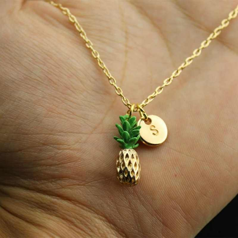 Fashion Creative Gold 26 Letter Pineapple Pendant Necklace Jewelry New Girls Women