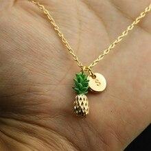 db23eed145e8 Moda creativa oro 26 letras piña colgante collar joyería nuevas niñas  mujeres