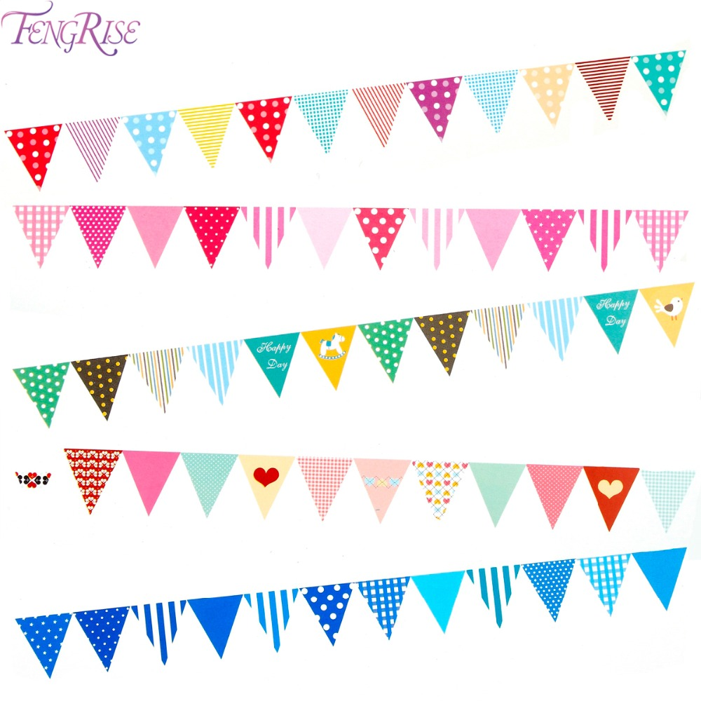 FENGRISE Paper Flags Happy Birthday Bunting Banner Baby