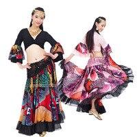 2017 סגנון חדש בגדים צוענים ריקודי בטן תחפושת ל נשים הודי ריקוד סט תלבושת ריקודי בטן 2 יחידות למעלה וחצאית 2 צבעים