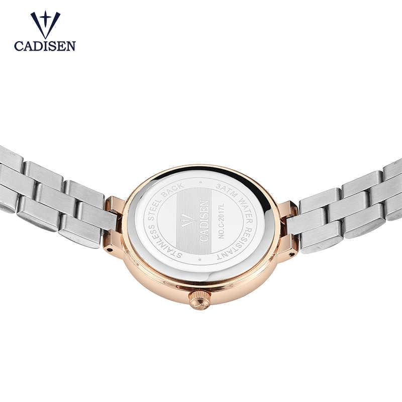 Cadisen מתנות יוקרה נשים מותג אופנה גבירותיי קוורץ שעונים מלא נירוסטה ריינסטון מפרק שעונים עמיד למים CA2017