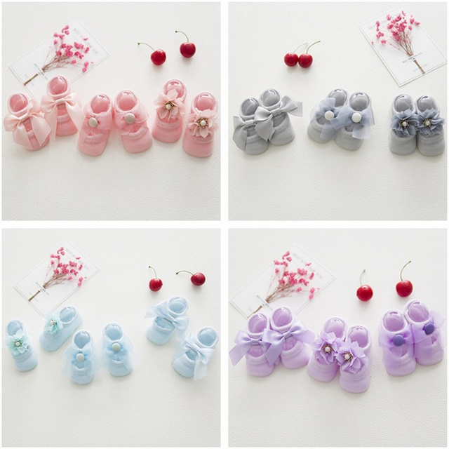 3 Pairs/ Lot Baby Cotton Floor Sock Summer Thin Lace Flower Bow Hollow Boat Socks Infant Socks Double Non-slip Socks For 0-3 Age