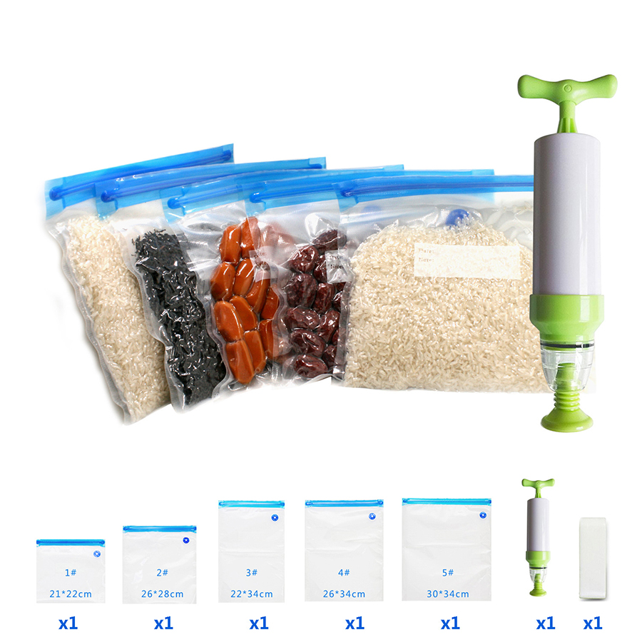 Manual Vacuum Sealer 5pcs/set Vacuum Bag Hand Pump Handheld Food Vacuum Sealer Sous Vide with 5 Sizes Vacuum Ziplock Bags