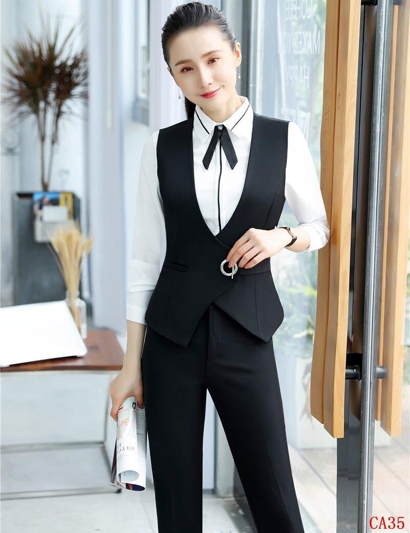 Pantsuit Manteau Ensemble Bureau Black Avec Professionnel Femmes Pantalons Mode 2 Noir Styles Pièces Et Uniforme Hauts Dames Gilet SnYnwt6A