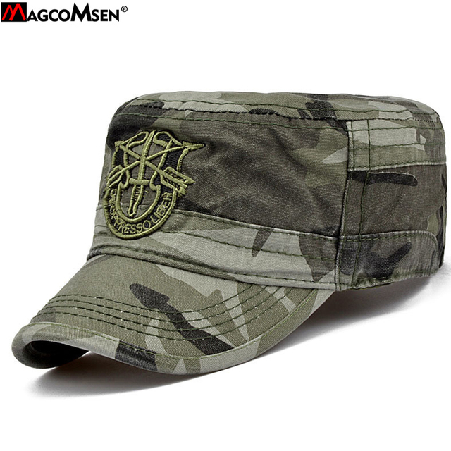 d5251d4b0cf0a1 MAGCOMSEN Army Green Soldier Combat Embroidery Hat Army Cap Hat Unisex  Tactical Camouflage Cap Adjustable Size 55-59 cm AG-CP-01