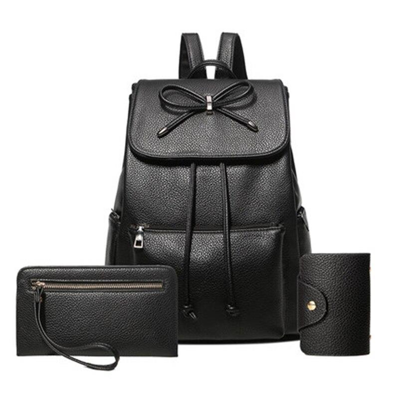 Image 2 - Women backpack  leather bags school backpacks female girls college preppy bag bowkont waterproof backbag Lady black mochilasBackpacks   -