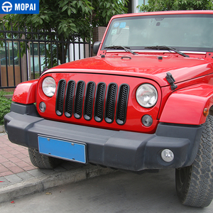 Image 3 - MOPAI ABS Car Exterior Insert Front Mesh Grille Cover Trim With Buckle Stickers For Jeep Wrangler JK 2007 2016 Car Styling
