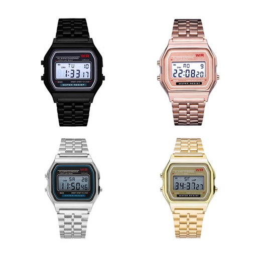 Men Women Retro Stainless Steel LCD Digital Watch Sports Stopwatch LED Ladies Watch Female Elegant Electronic Clock