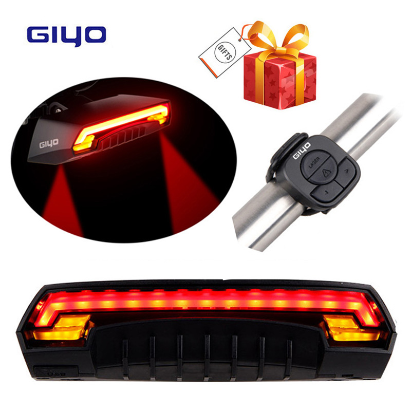 GIYO Wireless Remote Contoller Bicycle Tail Light Two Yellow Cornering Lamp USB Charging Waterproof IPX4 Laser