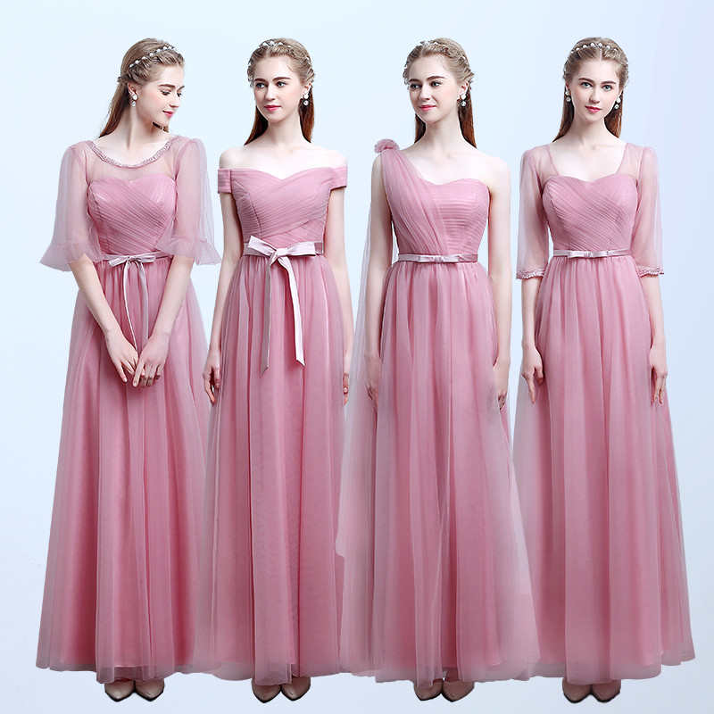 Dusty Pink Bridesmaid Dresses Long Half Sleeve Tulle Sweetheart ...