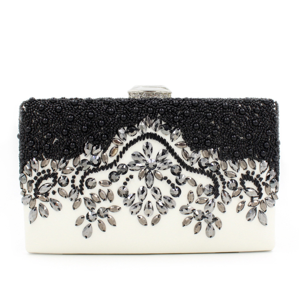 Women Party Handmade Black Pearl Clutch Bag Bridal Wedding Beaded Hand bags  Metal Clutches Hard Case Crystal Beading Evening Bag-in Evening Bags from  ... 7bf18b343a4a