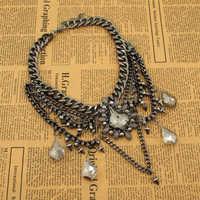 Gothic Retro Jewelry Fashion Hi-Q Gun Black Chain Gray Big SW Crystal Luxury Statement Necklaces Brand Punk Bijoux N2095