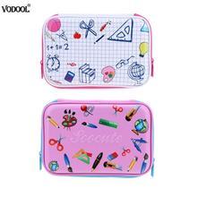 VODOOL EVA Cute Fine Grid Pencils Case Large Capacity Stationery Pen Holder Organizer Box Material For