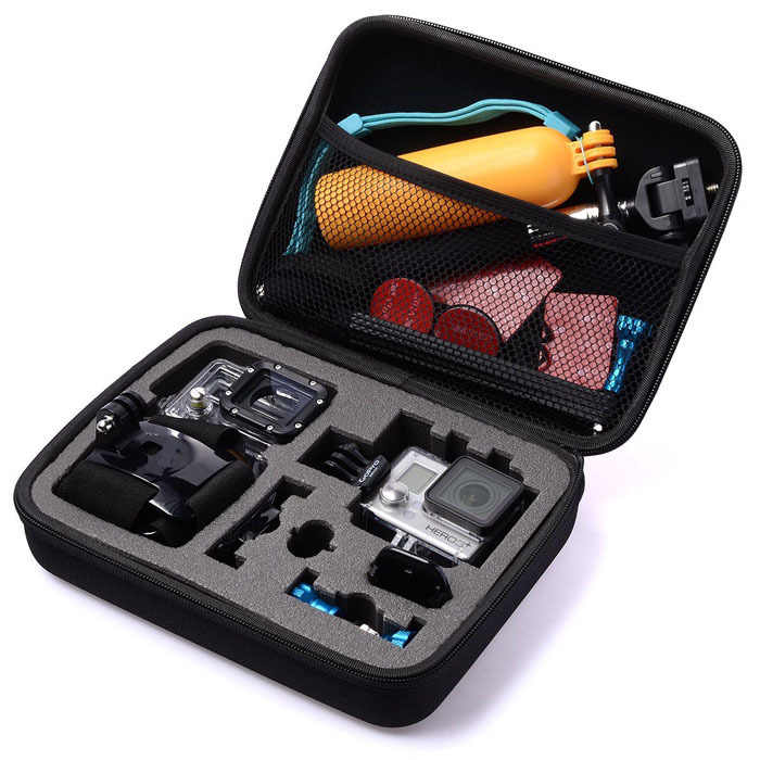 Hitam Kasus Koleksi Kotak Penyimpanan Travel Pelindung EVA Shockproof Kamera GoPro Vedio tas Untuk GoPro HD Pahlawan 3 + 3 2 1 Pergi pro