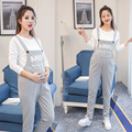 5928# Cute Waist Ties Cotton Maternity Bib Pants Clothes for Pregnant Women Pregnancy Belly Overalls Jumpsuits Rompers Trousers