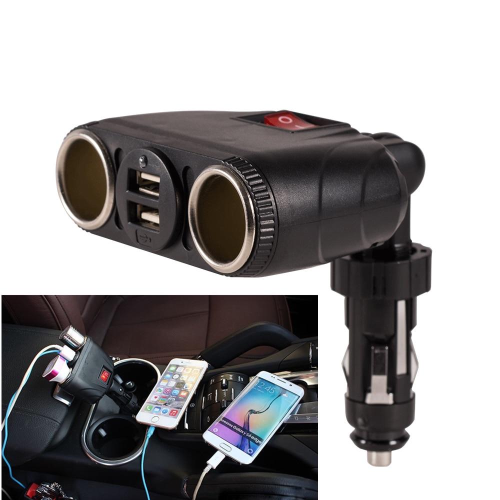 DC12V 180 Degree Car Cigarette Lighter Socket Splitter Adjustable Dual USB 2 Way With Switch